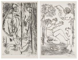 Arthur Boyd AC OBE, Australian 1920-1999- Survival and Father I have Sinned, 1996; two soft-ground