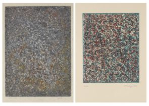 Mark Tobey, American 1890-1976- Summer Joy and Untitled (Abstract), 1972; two lithographs in colours