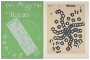 Henri Chopin, French 1922-2008- On recherche les tueurs, 1967 and The Chaînes, 1969; two