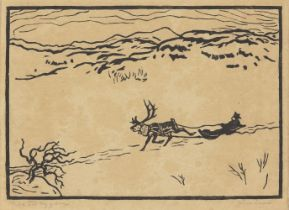 John Savio, Norwegian 1902-1938- Til Bygden, c.1920s; woodcut print on laid, signed, titled and