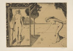 Paul Delvaux, Belgian 1897-1994- The Beach [Jacob 59], 1972; lithograph in colour on wove, signed