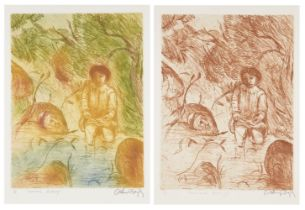 Arthur Boyd AC OBE, Australian 1920-1999- Susannah Bathing (Sepia and Colour); two etchings one in