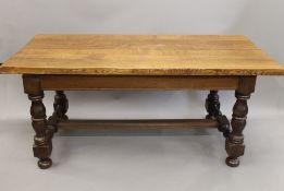 An oak topped refectory table. 180 cm long.