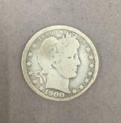 A 1900 USA quarter dollar.