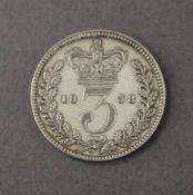 An 1838 Maundy three pence
