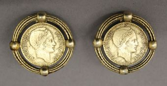 A pair of vintage earrings made out of French Francs. 3.5 cm diameter.