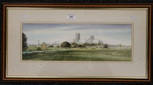 KENNETH MOORE, Ely Cathedral, watercolour, framed and glazed. 41 x 14 cm.
