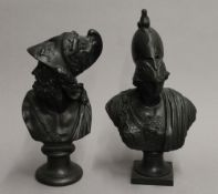 Two 19th century patinated spelter busts. The largest 26.5 cm high.