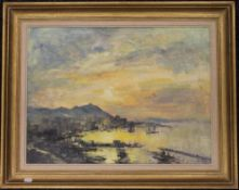 IAN HOUSTON (born 1934) British (AR), Sundown Hong Kong, oil on board, framed. 59.5 x 44 cm.