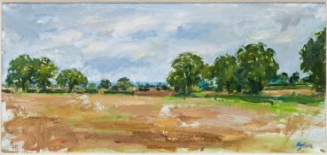 HENRIETTA CHARTERIS (20th/21st century) Suffolk Artist , Autumn Fields, oil on canvas,