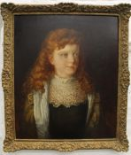SPANISH SCHOOL (19th century), Portrait of a Red Headed Girl, oil on canvas, indistinctly signed,