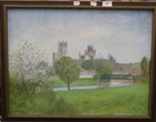 An oil painting of Ely Cathedral,