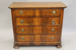 A 19th century Continental mahogany chest of drawers. 110 cm wide.