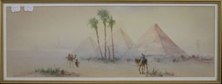 A Victorian watercolour, Egyptian Scene, indistinctly signed, inscribed to verso, framed and glazed.