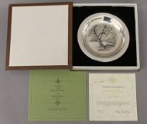 JAMES WYETH, silver dish, 'Along the Brandywine', boxed. 20 cm diameter. 6.1 troy ounces.