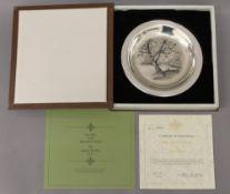 JAMES WYETH, silver dish, 'Along the Brandywine', boxed. 20 cm diameter. 6.1 troy ounces.