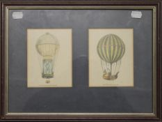 Two Hot Air Balloon prints, mounted in a common frame. 39 x 29.5 cm overall.