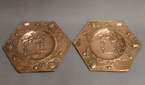 A pair of Art Nouveau copper plaques. Each 37.5 cm wide.