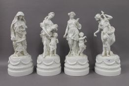 A set of four 19th century continental (possibly Meissen) blanc de chine figures depicting The Four