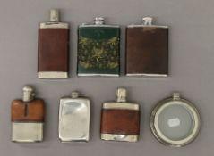 Seven various hip flasks