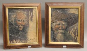 Two framed Vietnamese portraits painted on tobacco leaf, signed by artist Maitree, 1979.