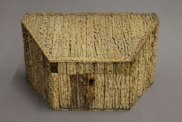 A 19th century antler clad stationery box. 25 cm wide.