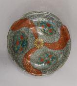 An Oriental crackle glaze dish. 18.5 cm diameter.