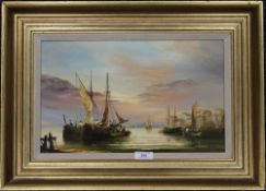 An oil on panel, Preparing the Fishing Boats, signed K HAMMOND, framed. 38.5 x 23.5 cm.