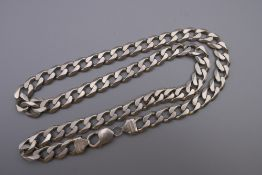 A gentleman's silver curb necklace. 54 cm long. 59.4 grammes.