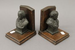 A pair of early 20th century bookends, each mounted with a bust of Shakespeare. 13.5 cm high.