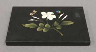 A pietra dura paperweight. 17 x 11 cm.
