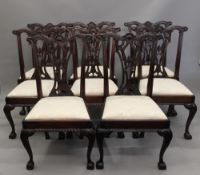 A set of ten 19th century style dining chairs, including two carvers. Each carver is 69 cm wide.