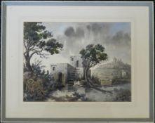 ED GALEA, Malta '74, watercolour, framed and glazed. 37 x 28 cm.