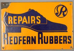 A Redfern Rubbers enamel advertising sign. 30.5 cm wide.