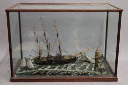 A vintage shipping diorama in a glazed mahogany case. 71 cm wide x 48 cm high x 36.5 cm deep.