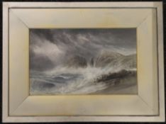 G L HALL, Crashing Waves, watercolour, signed, framed and glazed. 46 x 29 cm.