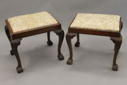 Two early 20th century cabriole leg stools. The largest 51 cm wide.