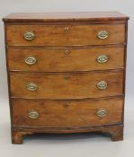 A 19th century mahogany bow front chest of drawers. 93 cm wide.