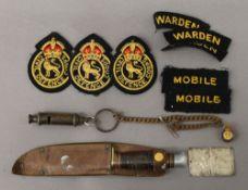 An Acme Boy Scout whistle, a Boy Scout sheath knife, a quantity of Civil Defence cloth badges,