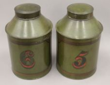 A pair of Victorian toleware tea tins. Each 35 cm high.
