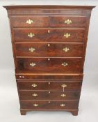WITHDRAWN A 19th century mahogany chest on chest. 191 cm high x 115.5 cm wide.