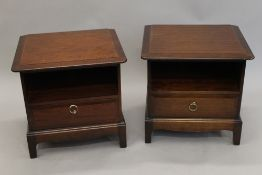 A pair of stag bedside cupboards. Each 50 cm high.