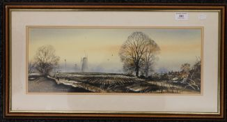 KENNETH MOORE, Fenland Windmill Scene, watercolour,