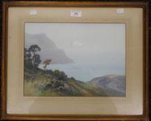 FREDERICK J WIDGERY (1861-1942) British, Coastal Cove, gouache, framed and glazed. 36 x 26 cm.