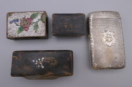 A silver cigar case, two snuff boxes and a cloisonne matchbox holder. The former 9 cm high.