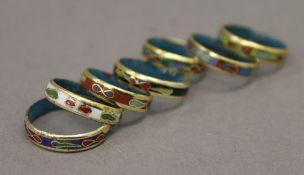 Seven cloisonne rings
