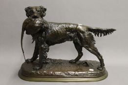 JULES MOIGNIEZ (1835-1894), Retriever with a Pheasant in its Jaw, bronze, signed.