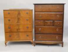 A mahogany chest of drawers and a stag chest of drawers. The former 76 cm wide.