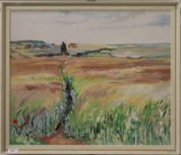 PHYLLIS GILES, Pink Cornfield, oil on board, initialled, framed. 59 x 49.5 cm.