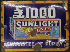 An original Sunlight Soap pictorial enamel advertising sign. 91.5 x 68.5 cm.